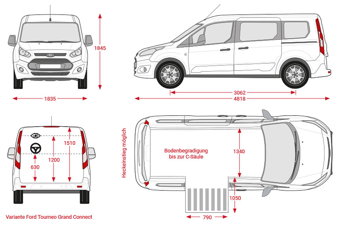 Maßblatt Ford Tourneo Connect