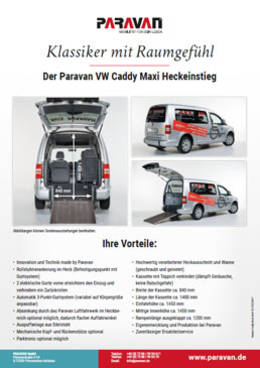 Flyer Paravan VW Caddy Maxi Heckeinstieg